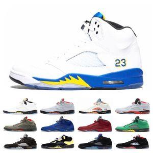 Big Sale Trophy Room 5s Ice Blue Men Basketball-Schuhe 5 Laney Yellow Bred Red Suede White Cement Metallic Black Designer-Sport-Turnschuh
