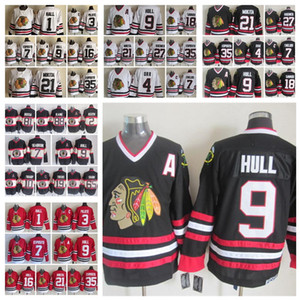 Fashion Retro Chicago Blackhawks Jersey 1 Glenn Hall 3 Pierre Pilote 7 Chris Chelios 9 Bobby Hull Red White Mens Stitched Hockey Jerseys