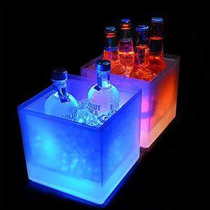 LED Buz Kovası RGB Renk Çift Katmanlı Kare Bar Bira Buz Kovası RGB Renk Değiştirme Dayanıklı Buz Şarap Kova Bar Için 3.5 L