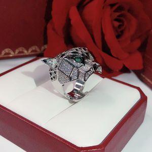 Leopard Ring Marken-klassische Art und Weise Partei Schmuck für Frauen Rose Gold Black Pattern Panther Hochzeit Luxuriöse Vollbohren Männer Ringe