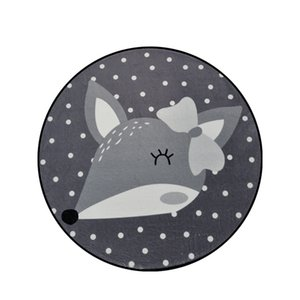 Sisher Tapis pour Salon Cartoon Tapis gris Décor mignon Tapis ronde Tapis de sol Tapis pour enfants Chambre Chambre Tapis