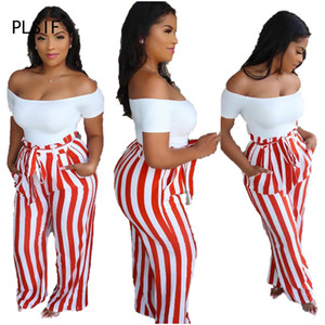 new arrive striped print sexy high waist trousers for women summer fashion sexy long pant lady casual capris