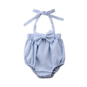 Lindo bebé recién nacido del verano Backless sin mangas de la correa de cabestro mameluco del mono de rayas trajes de arco sunsuit Ropa de bebé