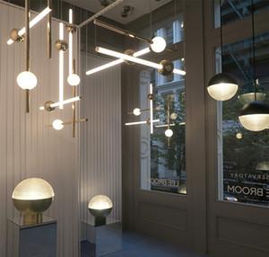 Minimalista Line Art LED Versión horizontal Luces colgantes Metal Glow Ball Para Bar Cafe Tea Shop Ingeniería Escaleras Restaurante