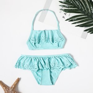 2019 Girl Swimsuit Two Pieces Children's Swimwear Tassel Children Split Hollow Falbala Bikini Sets Bathing Suit G1-CZ912