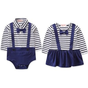 Baby Boy Girl Clothes Gentleman Boys Long Sleeve Bow Tie Stripe Romper Brother and Sister Jumpsuit Toddler Girls Clothing 0-24M