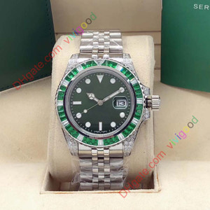 40мм Rbow Радуга Алмазный диск Sapphire Baselworld Часы Мужские автоматические часы Green Men Sport 116610LV Sub Дата Наручные часы