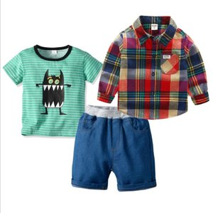 2019 New Kids'Suit Boys 'Short Sleeve Strip-T-shirt Checkered 긴 Sleeve Shirt Jeans Shorts Three-piece 한 벌 Best-selling new models