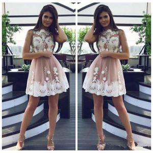 2019 레이스 아플리케 Tulle Short Homecoming Dresses 민소매 Vestidos De Prom 파티 드레스 정식 주니어 여학생 졸업