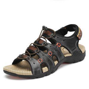 Summer Beach Sandals Men Breathable Sea River Outdoor Flat Sandals PU Leather Slippers Flats Shoes sandalias hombre