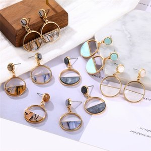 2020 New Fashion Simple Acrylic Statement Drop Earrings for Women Gold Round Metal Geometric Earrings Punk Ear Jewelry Brincos