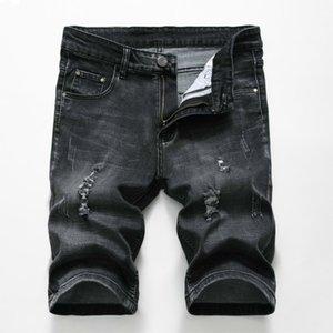 Verão Denim Hot Shorts Homens estiramento Slim Fit Short Jeans Mens Designer Cotton Casual afligido Shorts comprimento do joelho Shorts MX190718