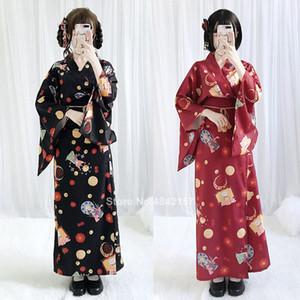 Japanese Traditional Style Kimono Dress Floral Printed Party Retro Oriental Yukata Sweet Princess Cosplay Photography Costume