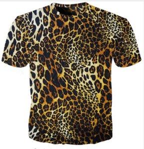 Estilo de verano La más nueva moda para hombre / para mujer Leopard Funny 3D Imprimir Casual Camiseta ABCQ00195