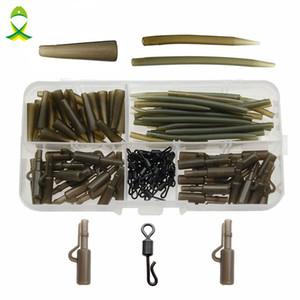 mucchio attrezzatura da pesca Scatole JSM 120pcs Carp Fishing Tackle Accessori Anti Tangle Sleeves Tail Gomme sicurezza pinze del Quick Change SWIV ...