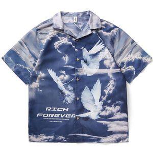 Summer Mens Designer Shirt High Quality Men Blouse Tops Casual Short Sleeve Mens Turn Down Collar Tees
