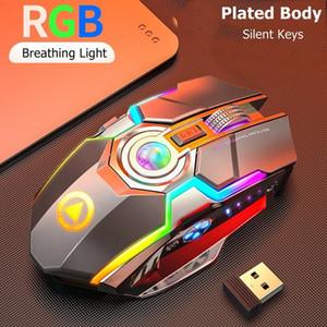iluminación Slient ratones RGB recargable USB inalámbrico de 2,4 GHz Esports RGB retroiluminado ratón para juegos Notebook Desktop Mouse Button espera largo del USB