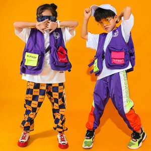 Niños jazz de la cadera de baile los niños del funcionamiento del traje de las niñas Hop desgaste de la etapa trajes de baile Jazzy llevar ropa de niños de la calle