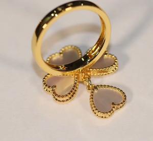 qualità di lusso 4 cuori e diamanti per l'anello delle donne punk in guscio bianco e rosso di nozze agata gioielli regalo PS3435 trasporto libero