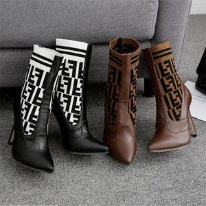 Botines elegantes de tacón alto Negro Marrón Diseñador Zapatos de mujer En stock Botas de nieve de otoño invierno Envío rápido