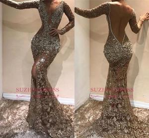 Sexy lentejuelas de manga larga sirena vestidos de baile de lujo espalda abierta profundo cuello en V Vestido de noche árabe deaign formales Dres partido del desfile