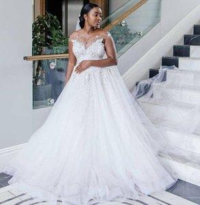 African Plus Size Wedding Dresses Off The Shoulder Sheer Neckline Formal Wedding Gowns Tulle Beads Appliques Bridal Dress Vestidos De Festa
