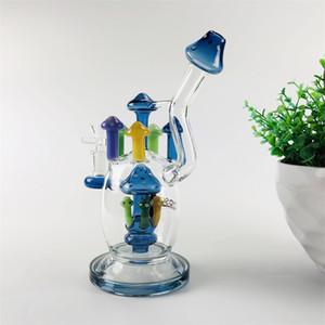Interruptor de vidrio de 10 pulgadas Bong tubería de agua burbujeador Dab aparejo tubo colorido de hongos con 14,5 mm copa sobre la varilla inferior emocionante 2 colores plataforma petrolífera