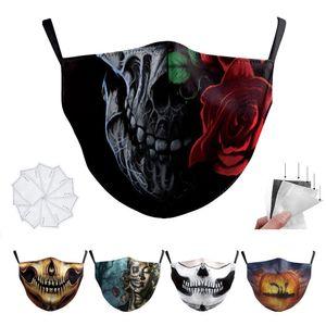 DHL Adulto máscara facial luxo designer Crânio bandeira digitais máscaras Halloween Sports Partido Cosplay reutilizável poeira quente Máscara à prova de vento Cotton festiva