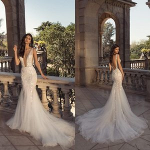 Vestidos de Noiva Dentelle 2020 Berta col en V profond de mariée sirène Robes Amovible train Backless balayage train Robes de mariée