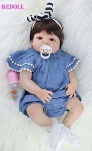 BZDOLL Full Body Silicone Baby Doll Toy Reborn comme le Real 22inch nouveau-né fille Princesse bébés Poupée Bathe Jouet Kid cadeau CJ191212
