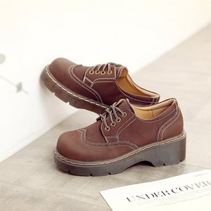 Feminino Big Head Student macia Brock Flats Retro britânico Colégio Vento Genuine Split couro Sapatos Mulheres grossas Oxfords inferior