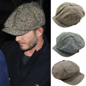 2019 Avrupa ve Amerikan moda retro tarzı bere erkekler ve kadınlar klasik ekose şapka rahat İngiliz tarzı şapka