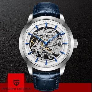 2019 Pagani Tasarım Marka Moda Deri Altın İzle Erkekler Otomatik Mekanik İskelet Su Geçirmez Saatler Relogio Masculino Kutusu J190706