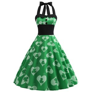 Abiti da Festa Sexy di San Patrizio Green Ireland Celtic Festival Retro Halter Dress Shamrocks Stampa Super Size Sweetheart Vintage Apparel