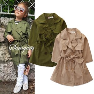 Vieeoease Girls Tench Coat Christmas Long Sleeve Bow Button Cardigan for 2019 Autumn Winter Kids Clothing CC-602
