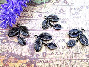 45pcs - Antique Bronze Joli Trois feuilles Feuille Charm Pendentif 23x24mm