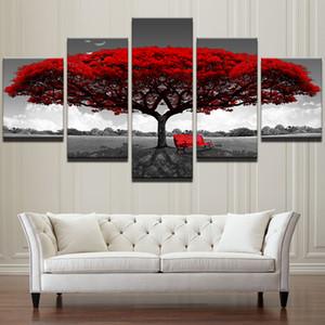 모듈 식 Canvas HD 인쇄물 홈 장식 Wall Art Pictures 5 조각 Red Tree Art 풍경 Landscape Paintings 프레임 워크 프레임 없음