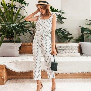 Simplee Elegant polka dot ruffles women jumpsuits Sleeveless beach white playsuit rompers Casual sexy female romper summer 2020 T200704