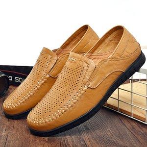 Homens Loafers Verão escavar Shoes condutor planas Mocassins Anti-derrapante