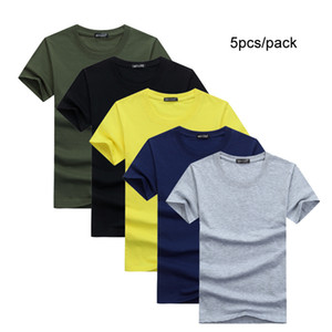 5 adet / grup Basit Stil Erkek T-Shirt Kısa Kollu Katı Pamuk Spandex Normal Fit Rahat Yaz Tops Tee Gömlek Erkek 10x Giysiler