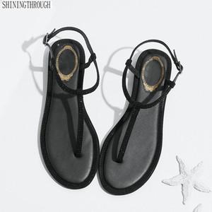 Sandálias 2019 Tira No Tornozelo Sapatos Femininos Sandálias Planas Banda de cristal Sapatos de Verão Menina Flip Flops Big Size Bohemia