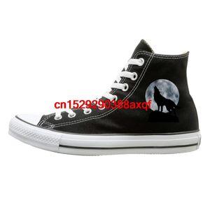 Unisex-beiläufige Schuh-Jungen und Mädchen Sportschuhe Wolf unter dem Mond Schuhe High Top Sport schwarze Turnschuhe Unisex Stil