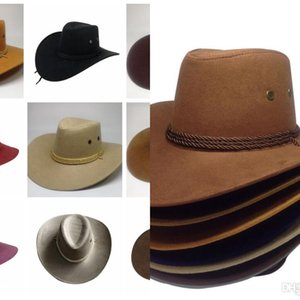 Cowboy Hats Retro Sun Visor Knight Hat Solid Color Big Felt Hat Fashion Cowgirl Wide Brim Hats Outdoor Travel Unisex Sun Headwear Cls670