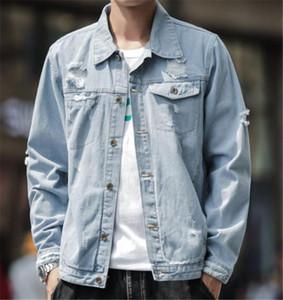 Отверстие Щитовых Mens Дизайнер Жан куртка Мода Кармана кнопка Щитовых Mens Jean Jackets вскользь Самцы одежды
