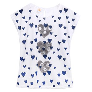 T-shirt à manches courtes Casual Top Love Heart T-shirts Automne 2017 solide O Neck Harajuku Tops