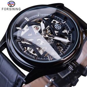 Forsining полный черный мода классические механические наручные часы для мужчин черный ремешок светящиеся руки Heren Horloge скелет часы мужской