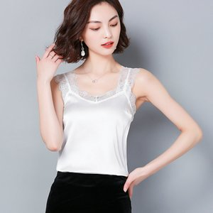 Hot Sale Sexy Lace Tank Top Women Summer Casual Satin Silk Vest Backless Lace-up Basic Tops Black Sleeveless Camisole T-Shirt