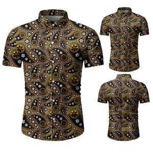Оптовая конструктора Mens Цветочной Printed мода Повседневной Кнопка вниз нагрудного короткого рукав рубашка мужчина Summer Beach Shrits M-3XL