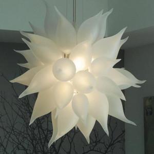 Soffiato Lampadari moderni soffitto Frosted LED bianco pendente del cerchio mano Decorative Light Glass Chandelier Light Fixtures spedizione gratuita