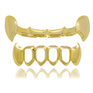 хип-хоп сглаживать Halloween Протезирование Grillz реального Позолоченные рэперов стоматологические грили охладиться ювелирные изделия золотой серебряный розовое золото черный